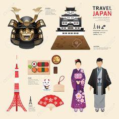 Japon Plates Icônes Conception Concept.Vector Voyage Clip Art Libres De Droits , Vecteurs Et Illustration. Image 37665093.