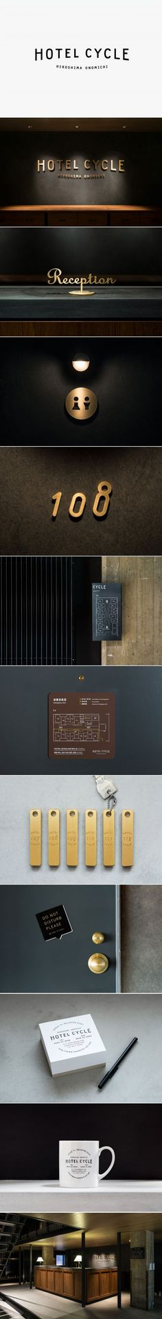 Logotype and interior signage designed by UMA for U2's Onomichi based Hotel Cycle: