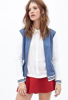 Forever 21 Heathered Knit Varsity Jacket on shopstyle.com