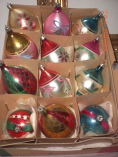 Vintage box of 12 Old Poland Glass Christmas Tree Ornaments - Dragonfly, Birds + | eBay