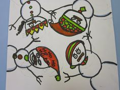 The Art Teacher's Closet: In the Art Room - Snowmen.  This isn't a guided drawing project, but I think it surely could be!