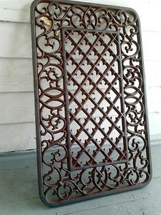 A beautiful, NEW, solid cast iron grate for your home or garden. Use indoors or out! Use as a floor mat or wall grate over a vent hole. Also can be a gate or fence panel in wood or metal. You can even weld these pieces together and make a complete fence. French Quarter, New Orleans, Vent Registers, Cast Iron, It Cast, Front Door Mats, Front Porch, Garden Fence Panels, Iron Doors