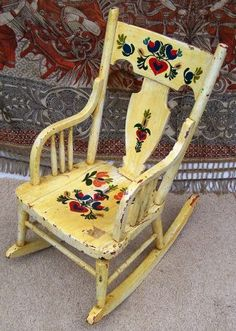 American Country Seating Chair/rocking Chair Painted | Country Antiques |  Pinterest | Bamboo Design, Rocking Chairs And Faux Bamboo