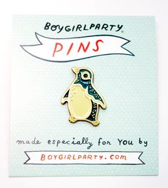 Enamel Pin – Penguin Pin by Boygirlparty http://shop.boygirlparty.com/collections/_new/products/penguin-pin-enamel-pin-by-boygirlparty?variant=21542540231