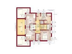 Grundriss Fertighaus Stadtvilla Obergeschoss - Haus Concept-M 210 Bien Zenker - . The Plan, How To Plan, Dream Home Design, Modern House Design, Style At Home, Casa Atrium, Building Plans, Building A House, Building Ideas