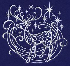 White Christmas Reindeer Machine Embroidery Designs at Embroidery Library! -