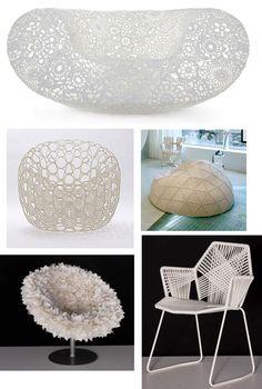 Crochet Chair by Marcel Wanders, Chair by Mathieu Lehanneur, Tropicalia Chair & Bouquet by Moroso, Hechima 4 chait via atelier 29
