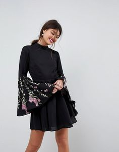 b68777362ed New ASOS Fluted Sleeve Embroidered Skater Mini Dress online. Perfect on the  womens-dresses from top womens dresses store -newdresses