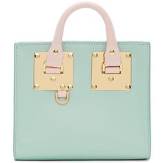 Sophie Hulme SSENSE Exclusive Blue & Pink Albion Box Tote ($695) ❤ liked on Polyvore featuring bags, handbags, tote bags, totes, ssense, leather tote bags, leather handbag tote, zip tote, pink tote and green leather tote bag