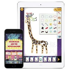 GoldieBlox and the Movie Machine app lets kids make their own animated movies.  (Start loading up the holiday road trip apps!)