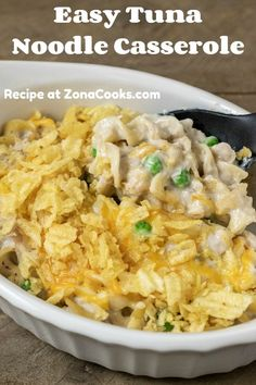 Easy Tuna Noodle Casserole will truly satisfy your craving for classic comfort food. It's packed full with thick egg noodles, big chunks of solid white albacore tuna, peas, creamy mushroom sauce, and topped with cheese and crispy crunchy crushed potato chips. This is a small batch recipe that serves two for lunch, dinner, or a romantic date night meal. And by the way, YUM!!! #tuna #TunaCasserole #TunaNoodleCasserole #DinnerForTwo #LunchForTwo #RecipesForTwo Tuna Noodle Casserole Recipe, Casserole Recipes, Ramkin Recipes, Easy Dinner Recipes, Breakfast Recipes, Dinner Ideas, Seafood Recipes, Cooking Recipes, Best Casseroles