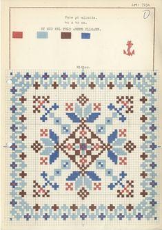 Broderi: Gunnar Pedersen AS Mini Cross Stitch, Cross Stitch Charts, Cross Stitch Designs, Cross Stitch Patterns, Cross Stitch Cushion, Cross Stitch Freebies, Beautiful Rangoli Designs, Chart Design, Square Patterns