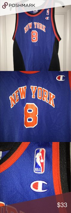 """Vintage kids NY Knicks Latrell Sprewell jersey XL Thank you for viewing my listing, for sale is a vintage, Champion brand, blue, New York Knicks, Latrell Sprewell, youth/kids jersey.   Jersey is in good condition, no rips or stains. A little bit of the screen print on the back #8 chipped off, but overall this is a great collectors item.   Sz: XL 18/20  If you have any questions please ask From under one arm to under the other measures appx 18"""" from the top of the shoulder to the bottom of…"""