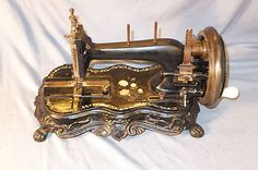 """1880C Paw Foot """"Junker Ruh"""" Hand Crank Sewing Machine w Mother of Pearl Inlay 
