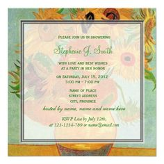 Vintage floral sunflowers bridal shower invitation