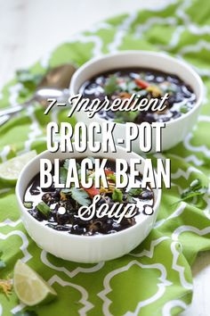 The easiest crock-pot black bean soup ever! This 7-Ingredient Crock-Pot Black Bean Soup takes just minutes to prepare and is packed with fresh ingredients.