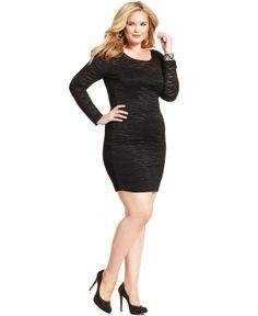 Soprano Plus Size Long-Sleeve Lace Dress - Junior Plus Dresses ...