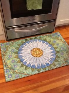 Painted Floor Cloths, Painted Rug, Painted Floors, Painted Furniture, Hand Painted, Cow Rug, Off White Cabinets, Porch Mat, Blue Morning Glory