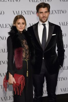 Olivia Palermo (L) and Johannes Huebl attend the Valentino Sala Bianca 945 Event on December 10, 2014 in New York City.