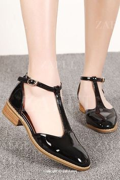 T-Strap Patent Leather Flat Shoes