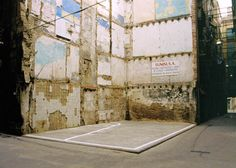 Harmen de Hoop BASKETBALL COURT #5 – BARCELONA – 1992 A section of a basketball court is painted to scale onto the foundation of a partly demolished building. Imacon Color Scanner
