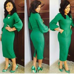 Green Simple but Classy Full Arms Dress