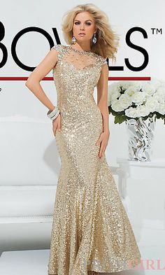 Long Gold Sequin High Neck Gown at PromGirl.com