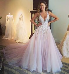 Pink prom dress,Prom dress 2016,Tulle prom dress,Appliques prom dress,Lace prom dress long,Deep V Neck prom gowns