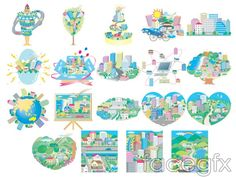 City theme illustrations House buildings vector