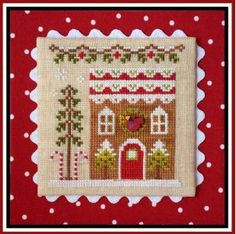 """Gingerbread House #4 is the title of this cross stitch pattern from Country Cottage Needleworks series titled """"Gingerbread Village"""" that is stitched with DMC threads, Classic Colorworks (Bean Sprout, Ribbon Red) and Weeks Dye Works (Pecan and Hazelnut). Click on highlighted link to add the button to your shopping cart."""