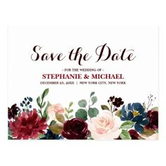 Burgundy Red Navy Floral Rustic Boho Save the Date Postcard - winter wedding cyo marriage wedding party gift idea