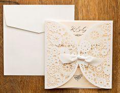 Beautiful laser cut wedding invitations in by PeachWolfePaperCo