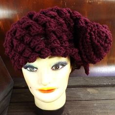 Crochet Beret Hat Crochet Hat Womens Hat Trendy Crochet Shell Stitch Crochet Beret Hat Crochet Flower Aubergine Hat KAREN Beret Hat by strawberrycouture by #strawberrycouture on #Etsy
