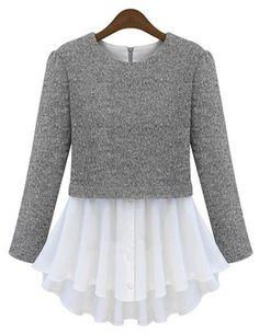 Grey Long Sleeve Contrast Pleated Hem T-Shirt