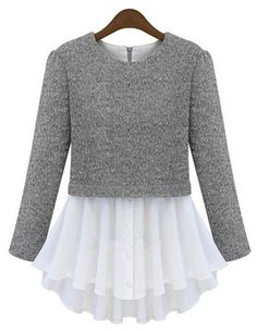 Grey Long Sleeve Contrast Pleated Hem T-Shirt - Sheinside.com $30.49