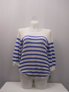 NY Collection Sweater Size 2X Striped Scoop Neck Cuffed 3/4 Sleeves Thin Knit  #NYCollection #ScoopNeck