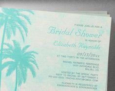 Rustic Palm Trees Burlap Bridal Shower Invitation