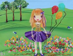 Girl with Baloons  from my whimsical girls artworks by Peta E. More info about me at my website www.petae.com.au
