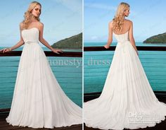 Ella 5503 Beach Wedding Dress White Chiffon A Line Strapless Beaded Sequin Brush Train Ruffled Lace Up Charming Bodice Bridal Gown Dress, Free shipping   DHgate