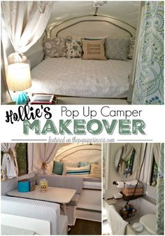 Like counter top idea- Hollie's Pop Up Camper Makeover - The Pop Up Princess. This fabulous pop up trailer remodel has all the makings of a peaceful family retreat. Loving the calming color scheme and practical storage spaces. Popup Camper Remodel, Camper Renovation, Diy Camper, Camper Remodeling, Camper Life, Small Pop Up Camper Remodel, Remodeling Ideas, Happier Camper, Rv Life