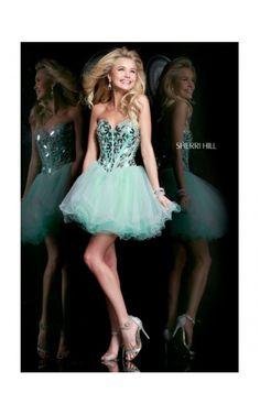 2014 Embellished Mini Dress by Sherri Hill 11131 Green
