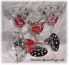 Hand Painted Margarita Glasses