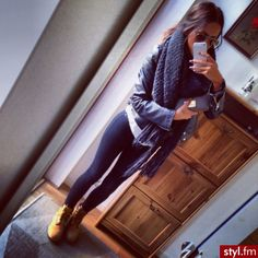 I love these boots with an outfit similar to this. Maybe black leggings and a lengthy shirt and infinity  scarf :)