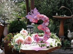 Butterfly and flower birthday party decorative numbers on Etsy, $48.25