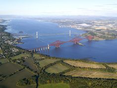 Cloudless: the world's most famous paint job, the Forth Bridge, and the Forth Road Bridge over the Firth of Forth, west of Edinburgh -one day i 'll return