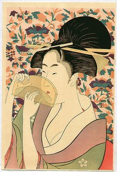 Title:櫛をもつ女 Woman with Comb Artist:喜多川歌麿 Kitagawa Utamaro Color woodblock print; 39.2 x 26.6 cm