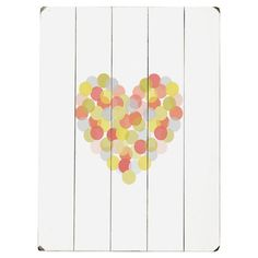 Add a touch of country-chic appeal to your foyer, living room, or home office with this charming wood wall decor, showcasing a spotted heart motif and planke...