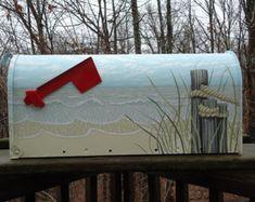 Hand Painted Mailbox. Beach Decor Mailbox. Sand by PatMcWhorter