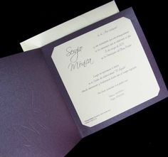 Invitación Busquets : De Cartulina Color Púrpura Nacarado. --- Minimo 25 Unidades --- - 1.20E