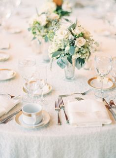Lace Table Linens, Gold Trim, Green and White Florals